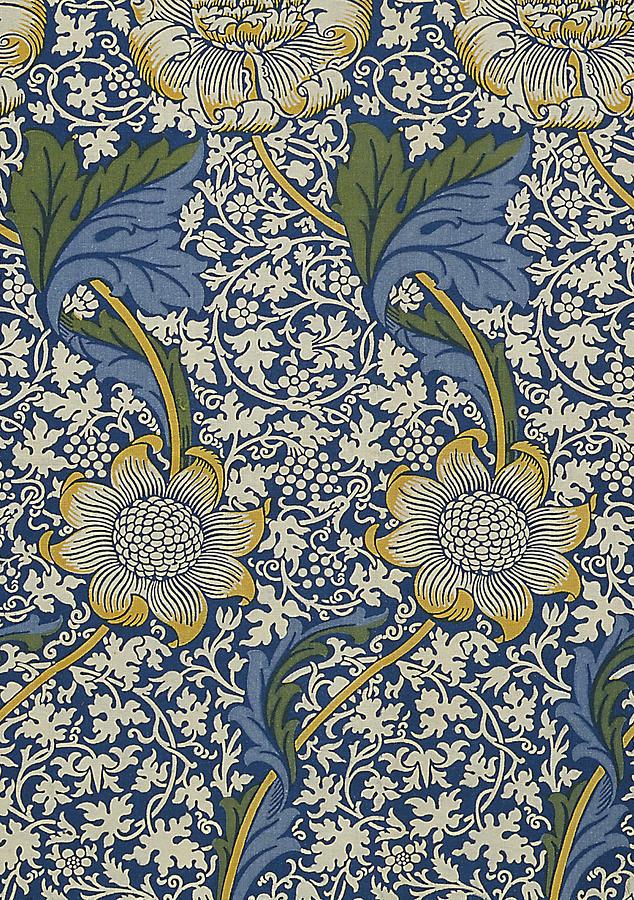 William Digital Art - Sunflowers On Blue Pattern by William Morris