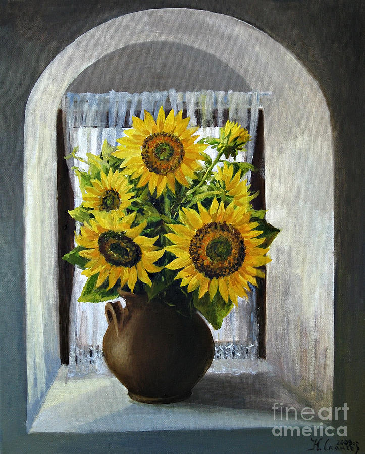 Arch Painting - Sunflowers On The Window by Kiril Stanchev