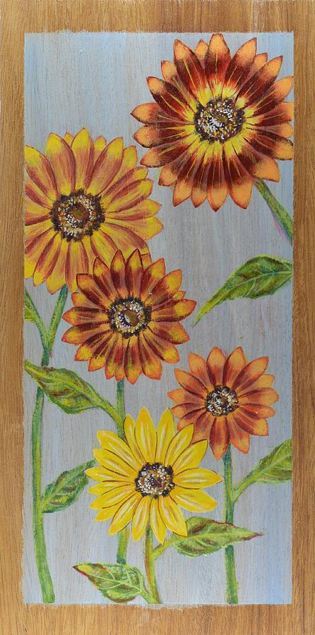 Sunflower Painting - Sunflowers On Wood Panel I by Elizabeth Golden