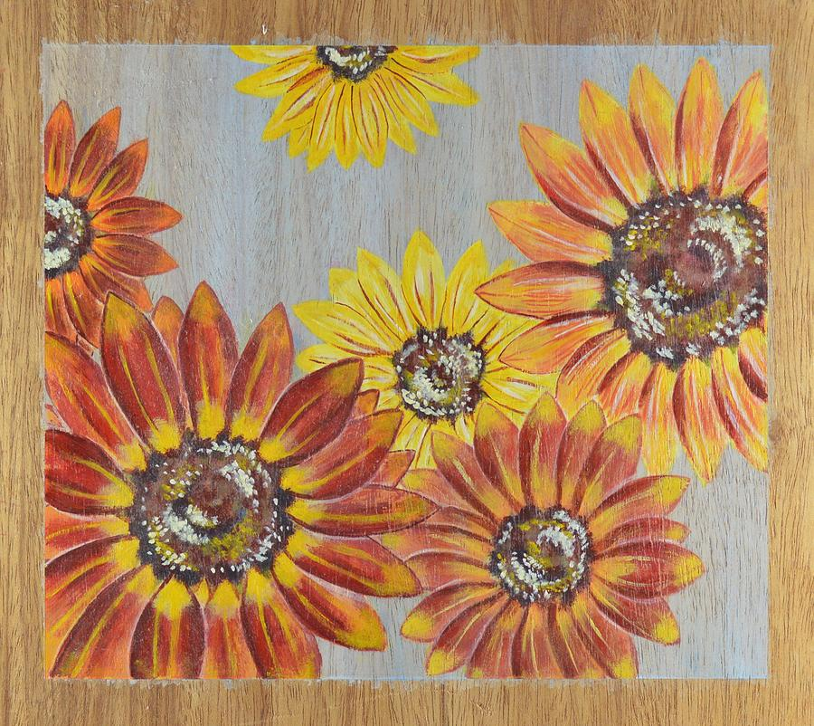 Sunflower Painting - Sunflowers On Wood Panel II by Elizabeth Golden