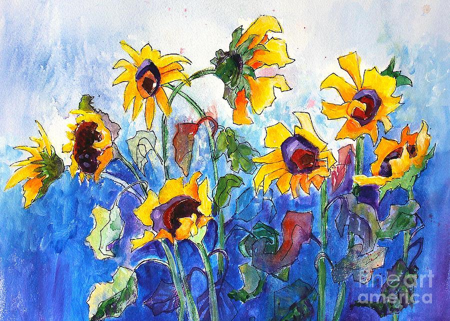 Nature Painting - Sunflowers by Priti Lathia
