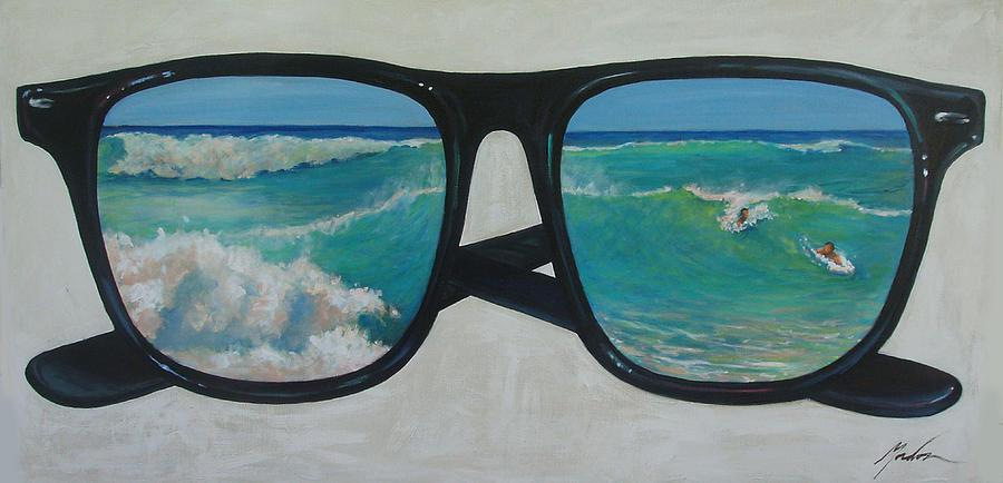 Waves Painting - Sunglass Wave by Brenda Gordon