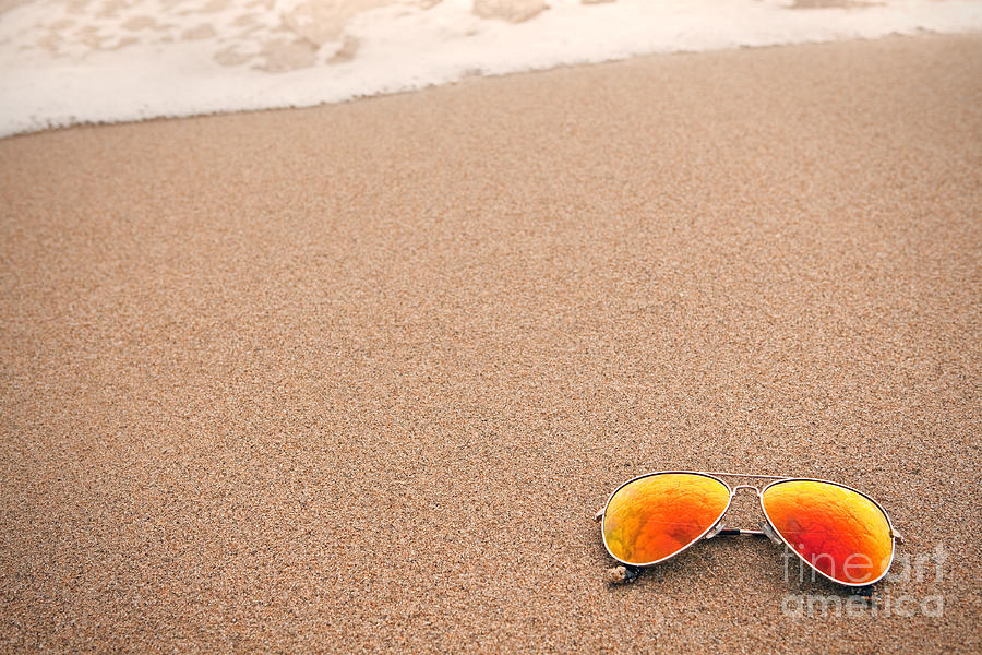 Wave Photograph - Sunglasses On The Beach by Sharon Dominick