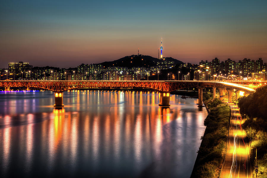Sungsu Bridge And Namsan Photograph by Thanks For Viewing! Www.johnsteelephoto.com