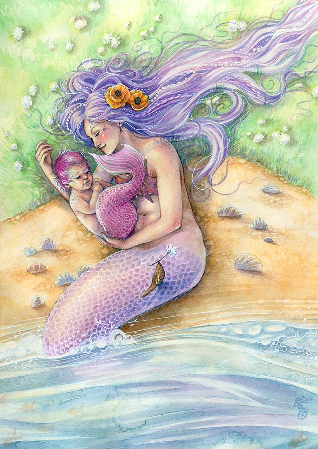 Mermaid Painting - Sunkissed - Pink by Sara Burrier