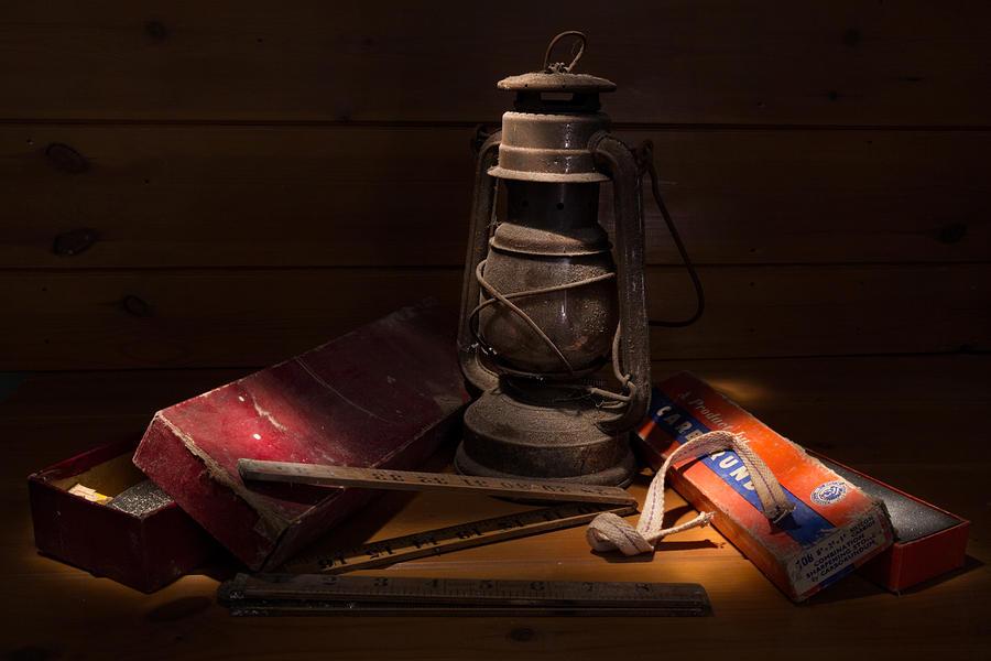 Hurricane Lamp Photograph - Sunlight In The Workshop by Ann Garrett