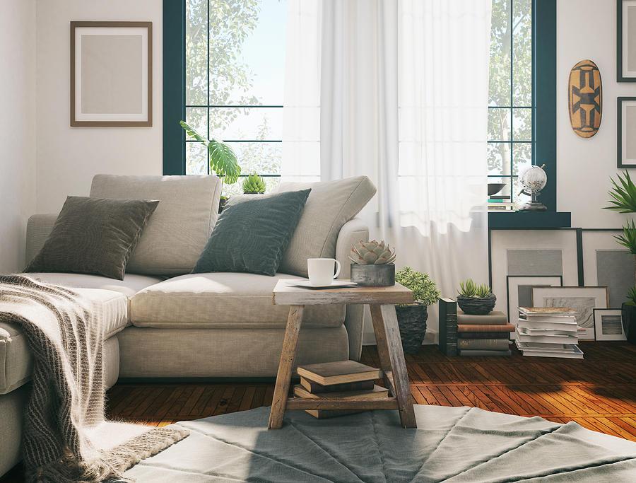 Sunlight Living room Photograph by Aleksandra Zlatkovic