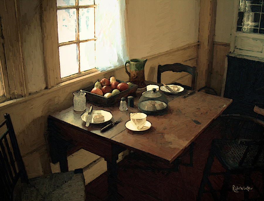 Still Life Painting - Sunlight On Dining Table by RC deWinter