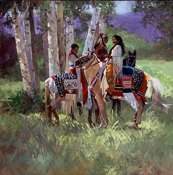 Native American Painting - Sunlight Thru The Trees by Betty Jean Billups