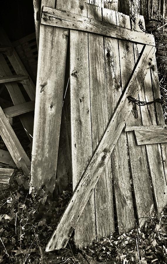 Barn Photograph - Sunlit Barn Door by Greg Jackson