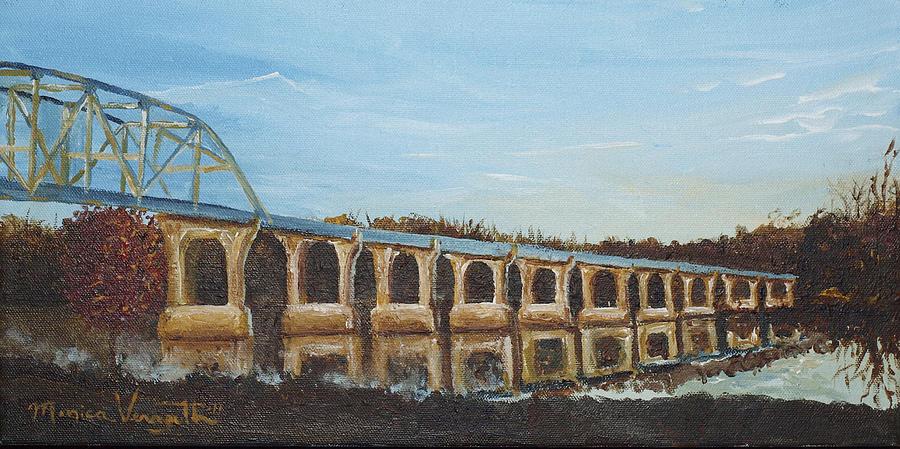 Landscape Painting - Sunlit Bridge by Monica Veraguth