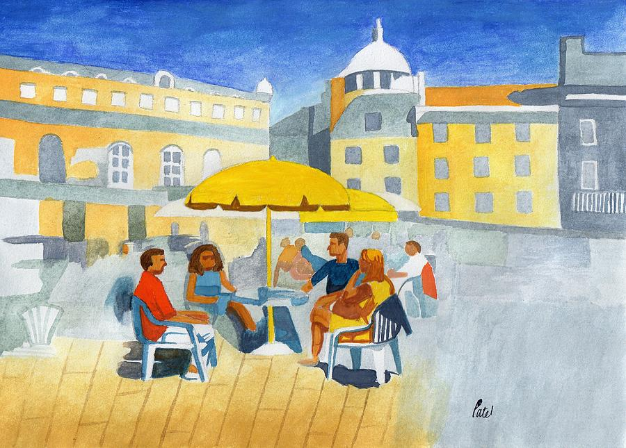 Sunlit Painting - Sunlit Cafe Scene by Bav Patel