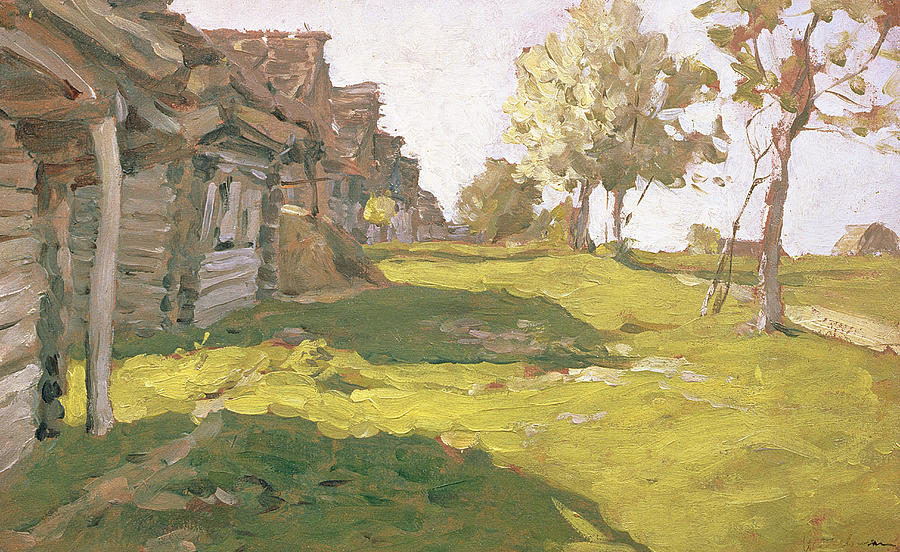 Building Painting - Sunlit Day  A Small Village by Isaak Ilyich Levitan