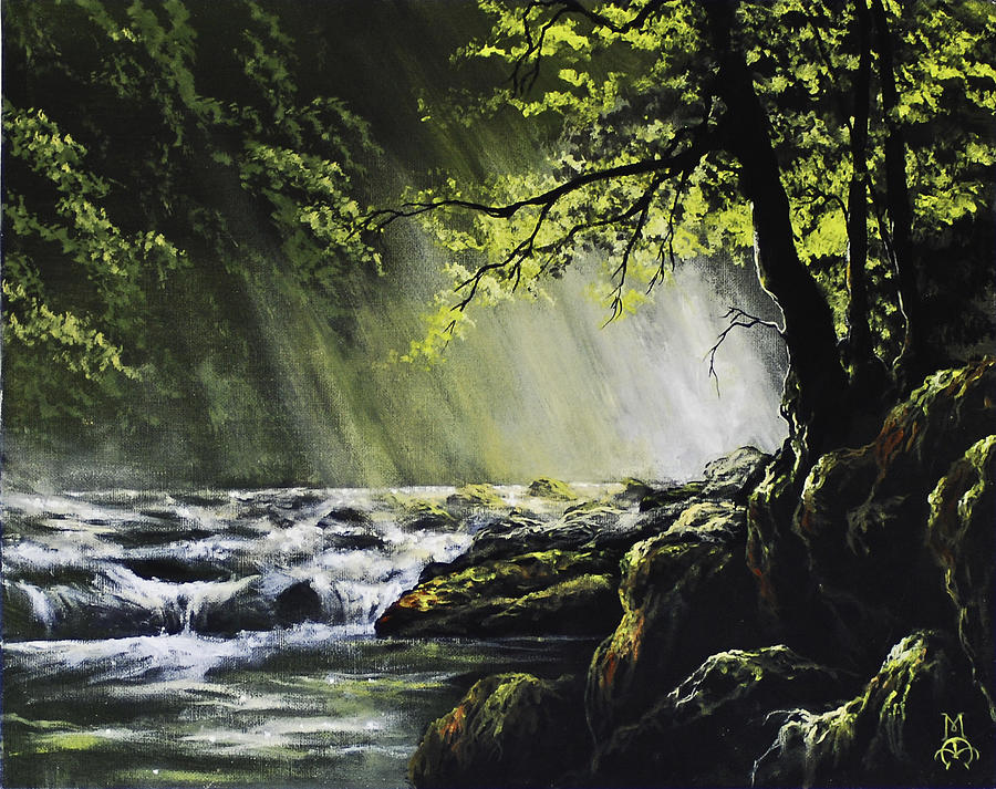 Waterfall Painting - Sunlit Dream by Marco Antonio Aguilar