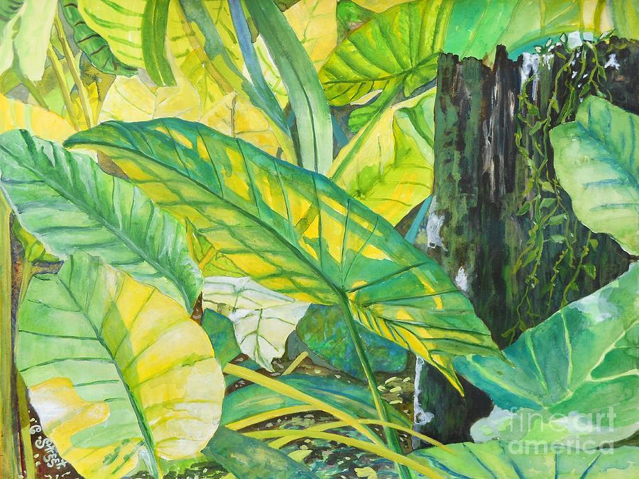 Gardens Painting - Sunlit Elephant Ears by Caroline Street