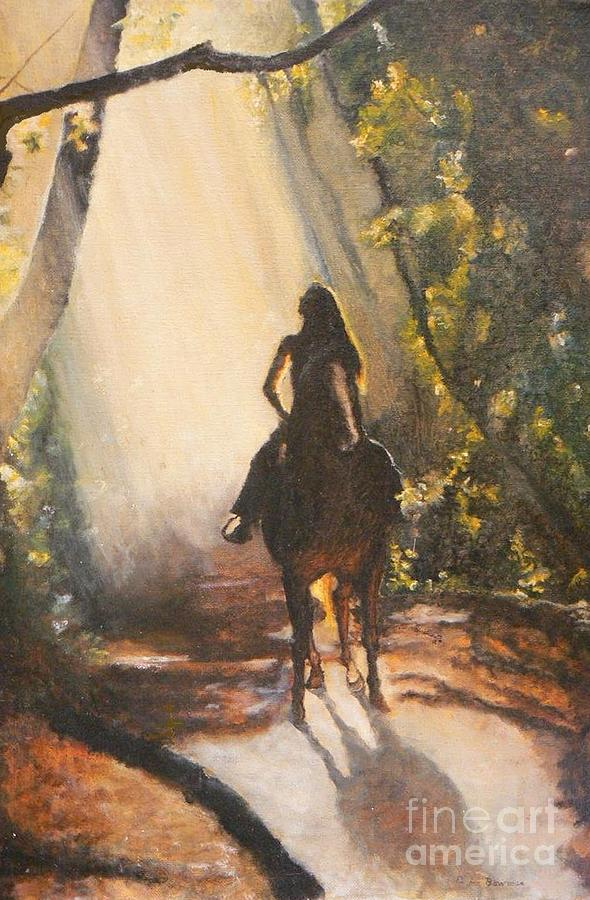 Horses Painting - Sunlit Path by Diana Besser