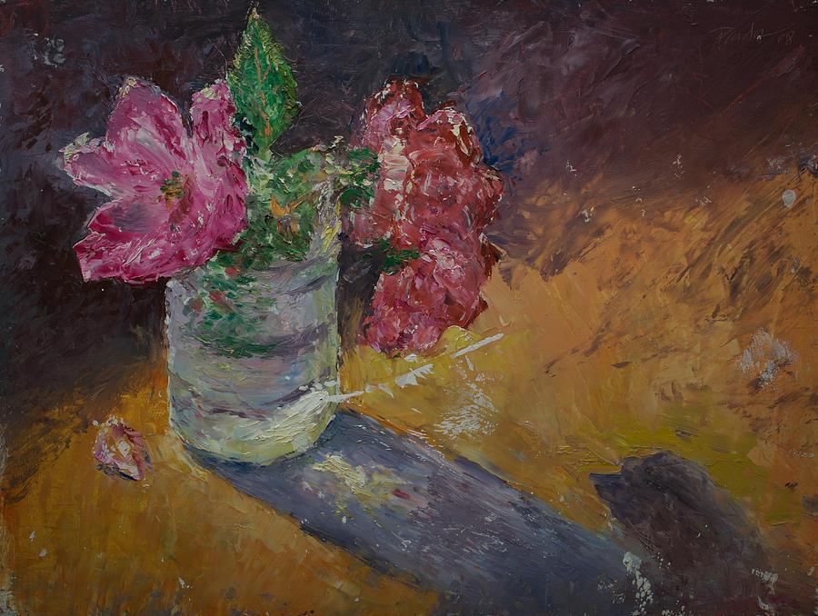 Oil Painting - Sunlit Roses by Horacio Prada