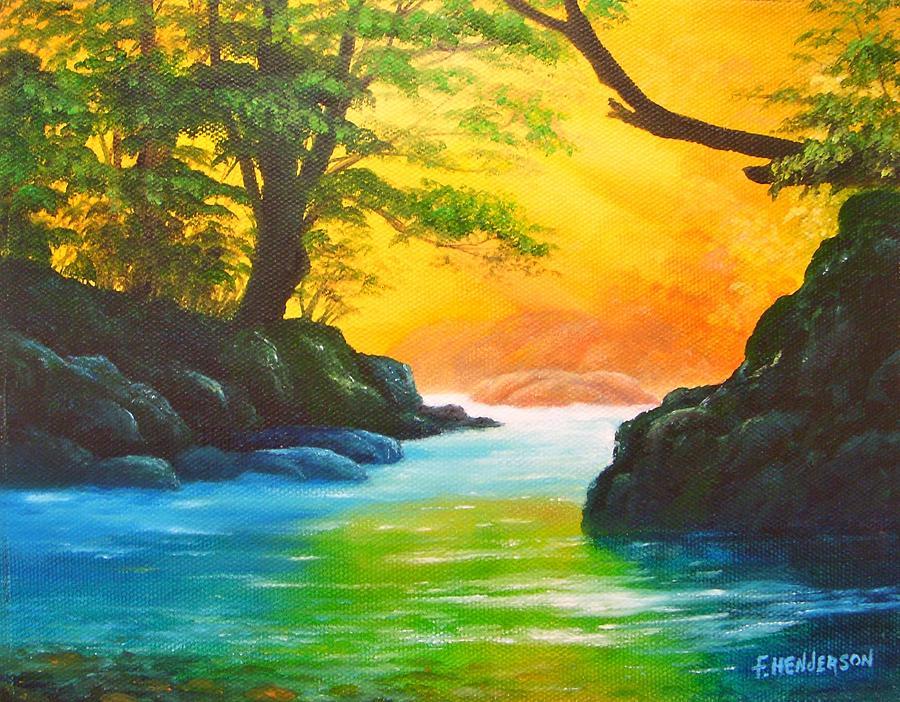 Sunlit Painting - Sunlit Stream by Francine Henderson