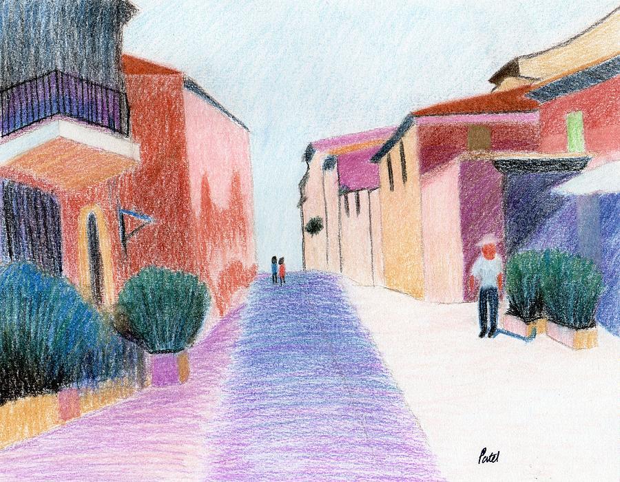 Sunlit Pastel - Sunlit Street Scene by Bav Patel