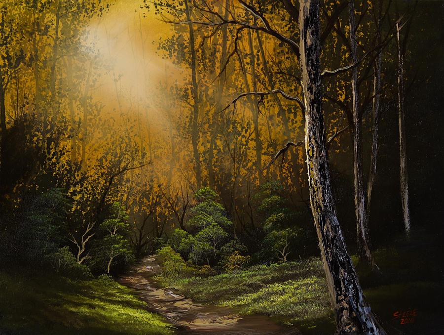 Landscape Painting - Sunlit Trail by C Steele