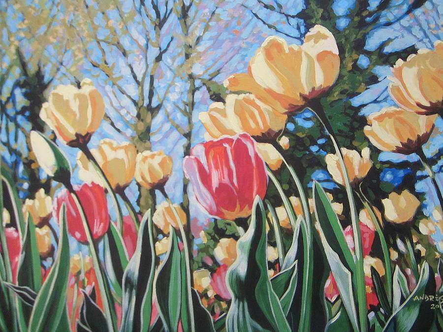 Tulips Painting - Sunlit Tulips by Andrei Attila Mezei