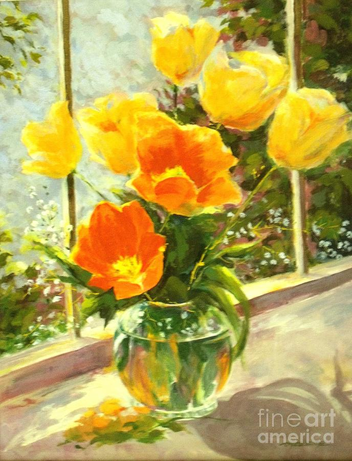 Canvas Prints Painting - Sunlit Tulips by Madeleine Holzberg