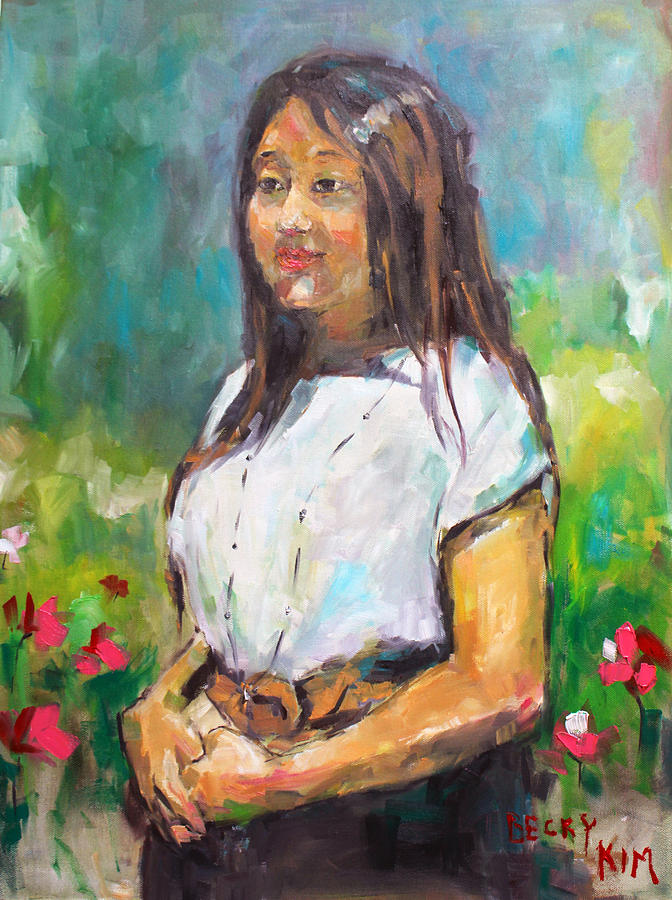 Portrait Painting - Sunni In Garden by Becky Kim