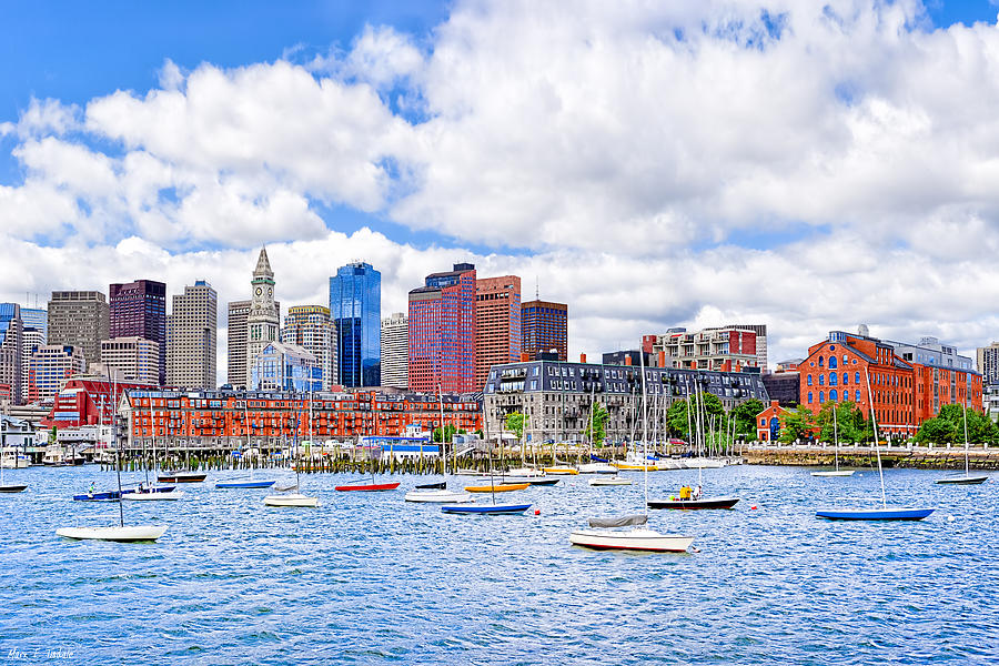 Boston Harbor Photograph - Sunny Afternoon On Boston Harbor by Mark E Tisdale