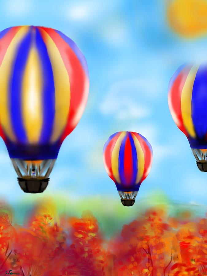 Hot Air Balloon Digital Art - Sunny Balloon Ride by Christine Fournier