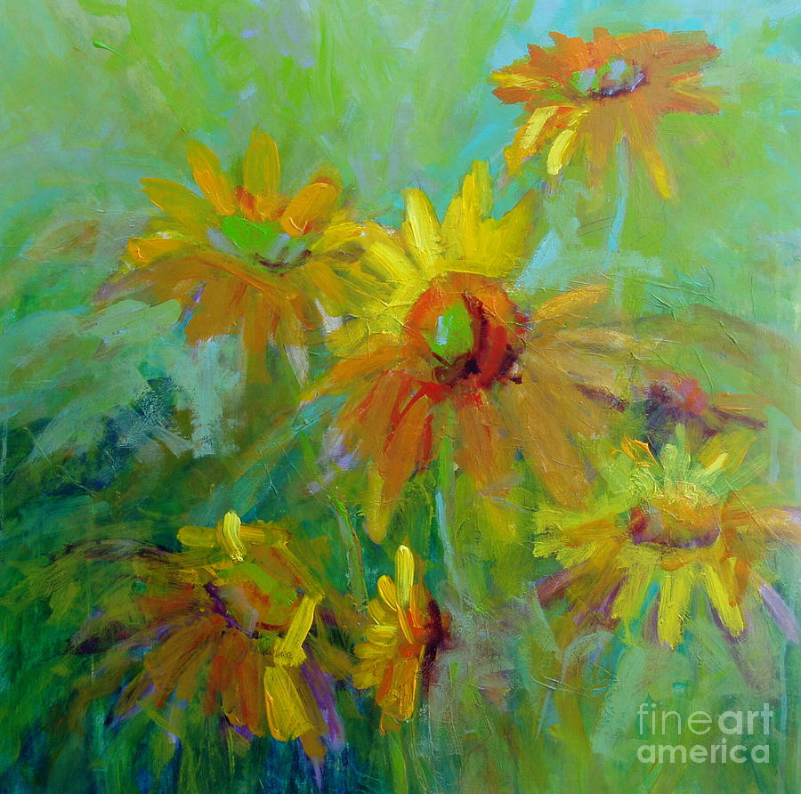 Flowers Painting - Sunny Daisies by Virginia Dauth