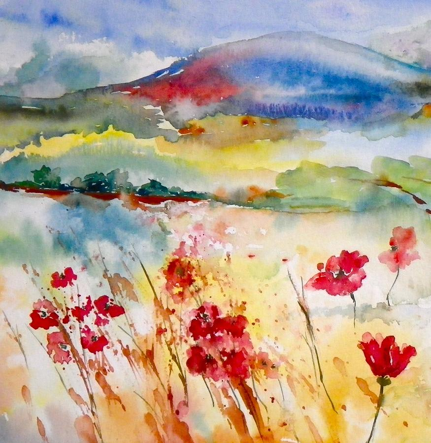 Field Painting - Sunny Field by Anna Ruzsan