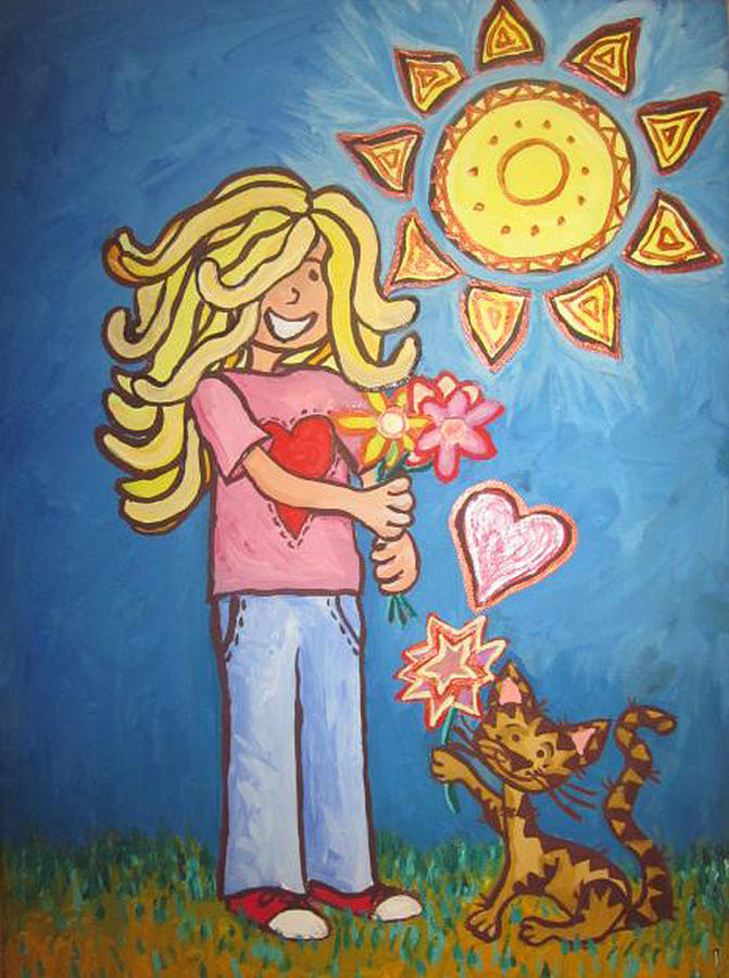 Blonde Girl Painting - Sunny Girl by Cherie Sexsmith