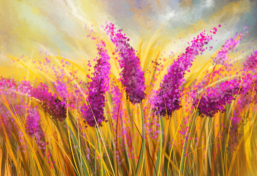 Sunny Lavender Field Impressionist Painting By Lourry