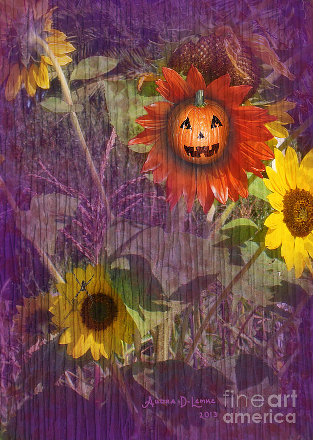 Halloween Digital Art - Sunny Pumpkin by Audra D Lemke