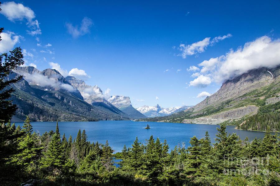 Glacier Photograph - Sunny Saint Mary Lake by Timothy Hacker