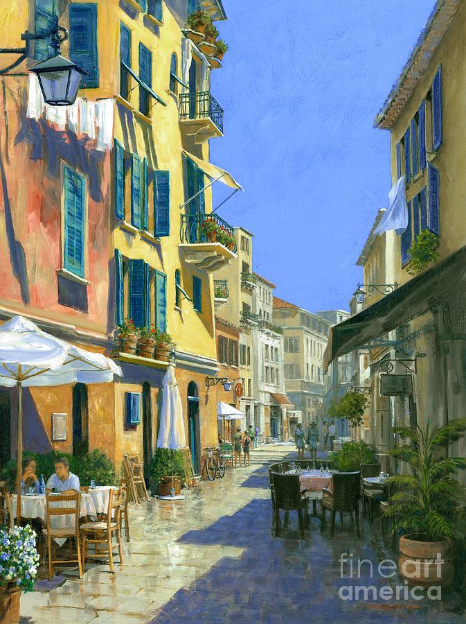 Italian Painting - Sunny Side Of The Street 30 X 40 - Sold by Michael Swanson