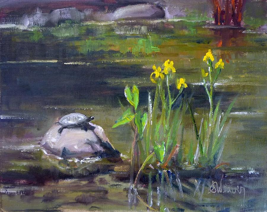 Turtle Painting - Sunny Side by Sharon Weaver
