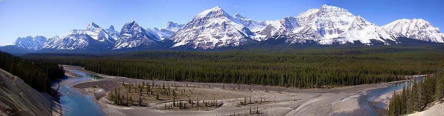 Snowcap Mountains Panorama Icefields Parkway, Alberta Photograph