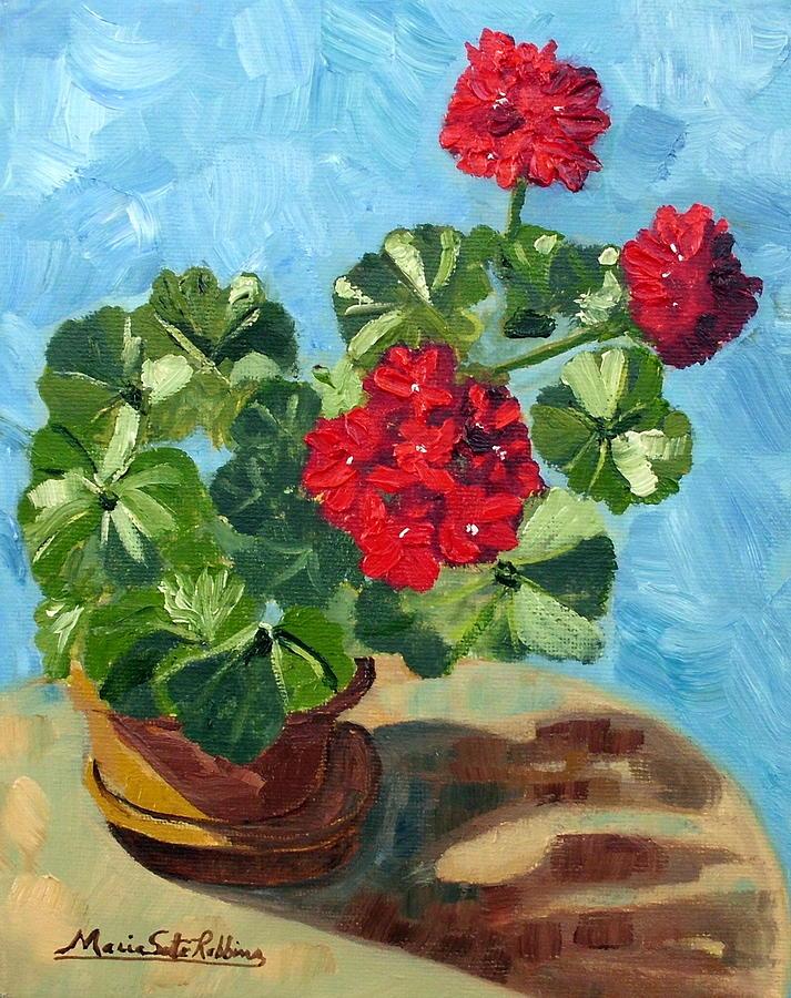 Red Geranium Painting - Sunny Spanish Geranium by Maria Soto Robbins