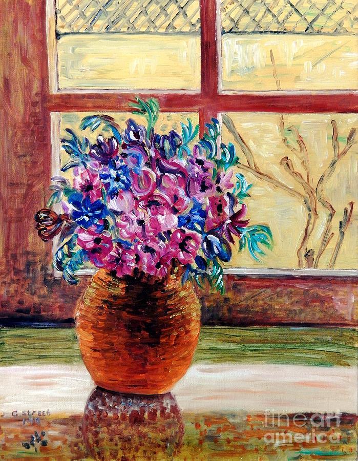 Flowers Painting - Sunny Window Ledge by Caroline Street