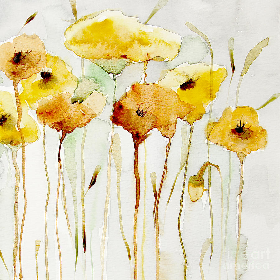 Yellow Painting - Sunny Yellow by Annemiek Groenhout