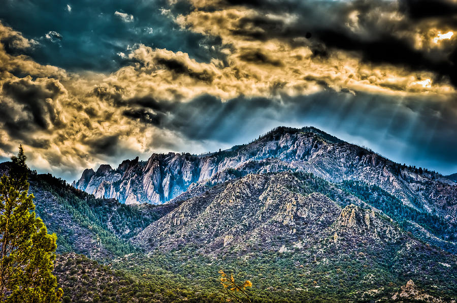 Mountains Photograph - Sunrays Over The Capitans by Helene Kobelnyk