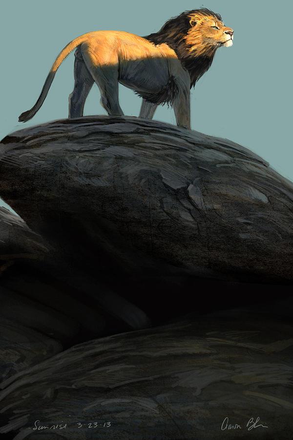 Lion Digital Art - Sunrise by Aaron Blaise