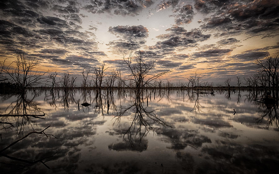 Reflection Photograph - Sunrise And Clouds by Garett Gabriel