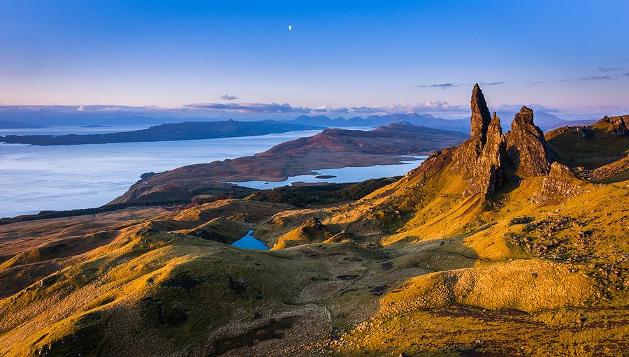 Digital Photograph - Sunrise And The Moon Over The Old Man Of Storr by Maciej Markiewicz