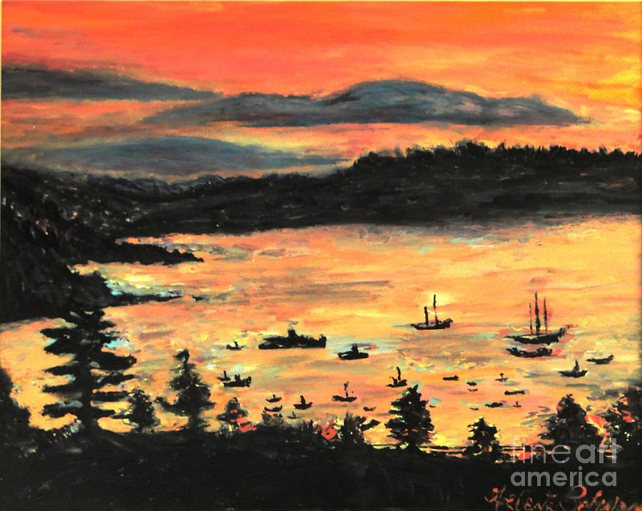 Sunrise At Bar Harbor Maine Painting