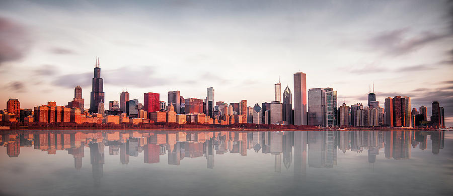 Chicago Photograph - Sunrise At Chicago by Marcin Kopczynski
