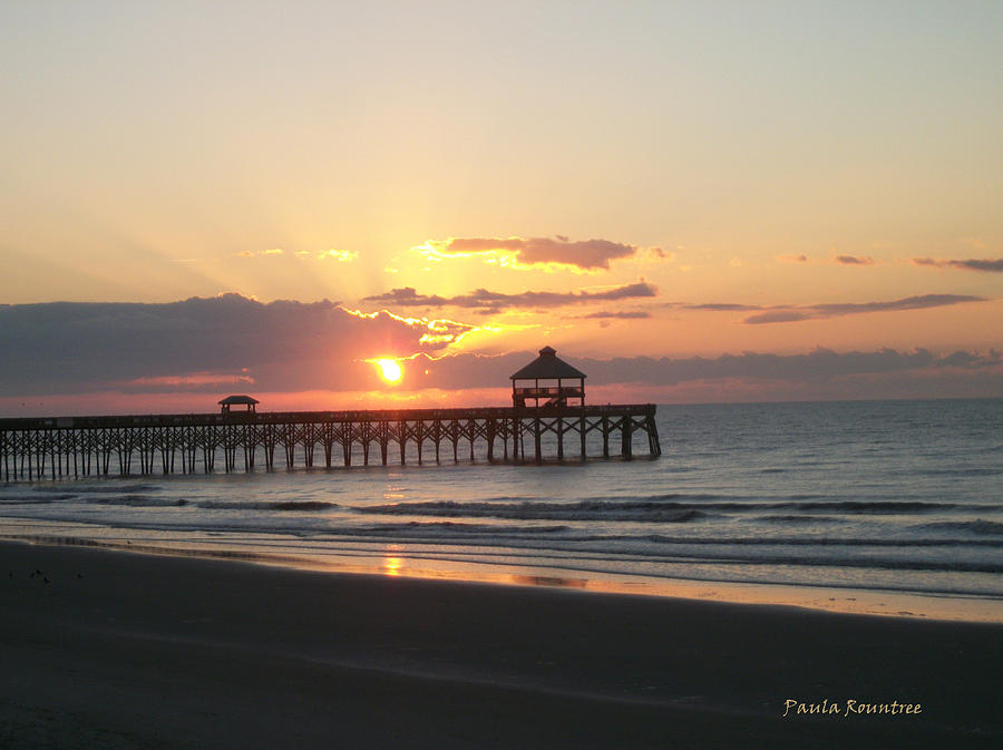 Photograph Photograph - Sunrise At Folly Beach by Paula Rountree Bischoff