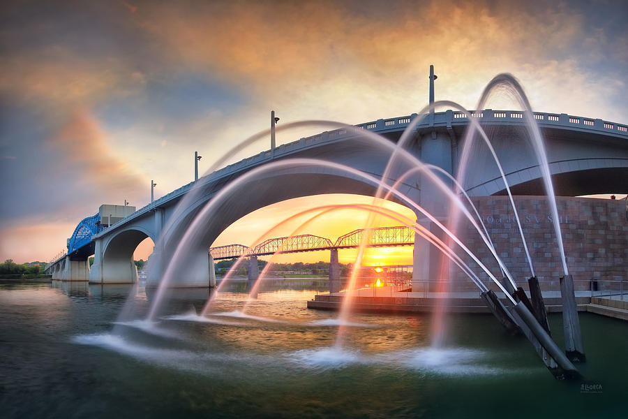 John Ross Photograph - Sunrise At John Ross Landing Fountain by Steven Llorca