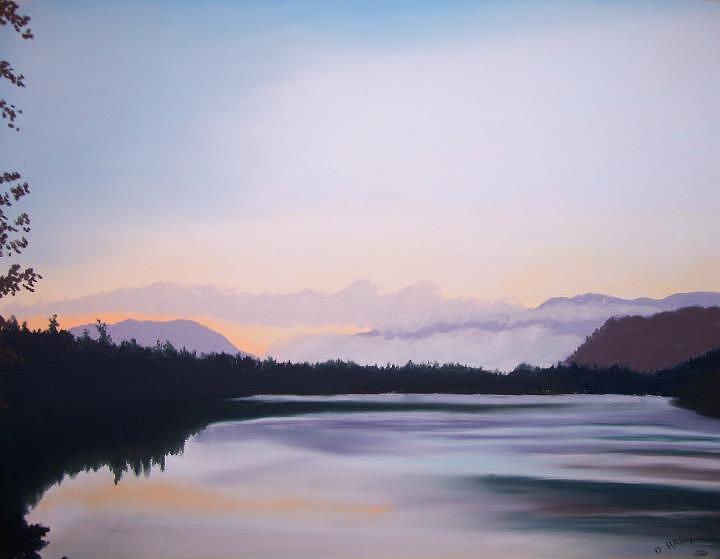 Pastel Pastel - Sunrise at Mirror lake by Dan Haley